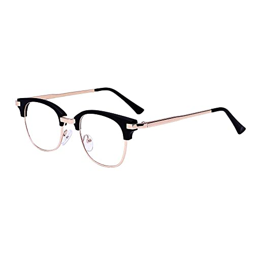 RETRO PERFECT Black Round Clear Lens Semi STUNNING Glasses ladies semi cat eye