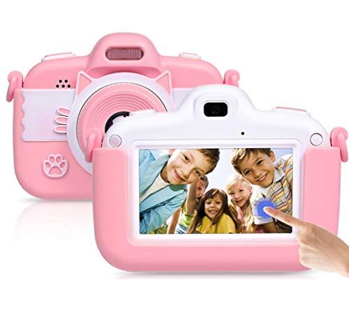 Faburo Kinderkamera 3.0 Zoll Touchscreen Digital Kamera Mini Kamera Kinder Spielzeug 3.0 Zoll Bildschirm Kamera Video Spiel Multifunktion mit 32GB SD Karte USB Ladekabel Rosa