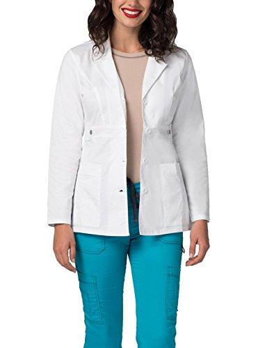 Adar Pop-Stretch Lab Coat for Women - 28' Tab-Waist Lab Coat - 3300 - White - M