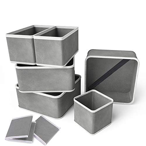 RenFox Organizador de Ropa Interior Plegable Cajas Organizador de Cajones Tela Organizador...