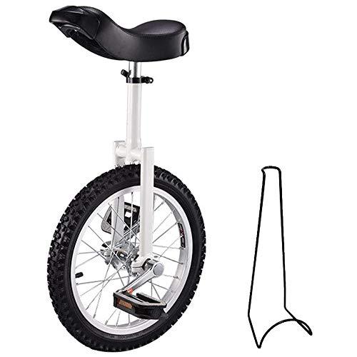L&WB Einrad Kinder Einrad Höhenverstellbar Unicycle Fahrrad 16 Zoll 18 Zoll 20 Zoll Mit Fahrradständer Und Montagewerkzeugen Beträgt Die Maximale Belastung 150 Kg,Weiß,16 inches