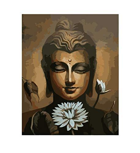 DIY Schilderen op nummerkinderen schilderen kitWitte Lotus Boeddha handgeschilderd frameloos schilderij 40x50cm