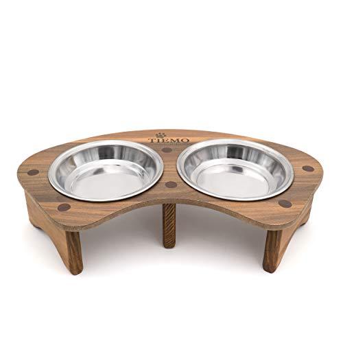 TIEMO hochwertige Futterstation aus echtem Holz mit 2 Edelstahl-Schüsseln - Hundebar für kleine Hunde und Katzen - Made in German