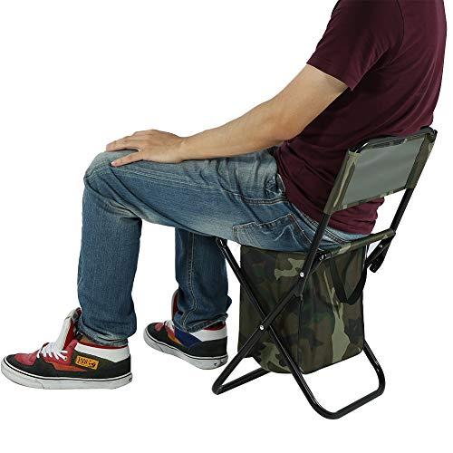 Chaise de Camping Pliante Chaise de Pêche en Plein Air Siège de Voyage Portable avec Sac de Rangement Adapté pour Le Camping Plage de Pêche Barbecue Pique-Nique Fête