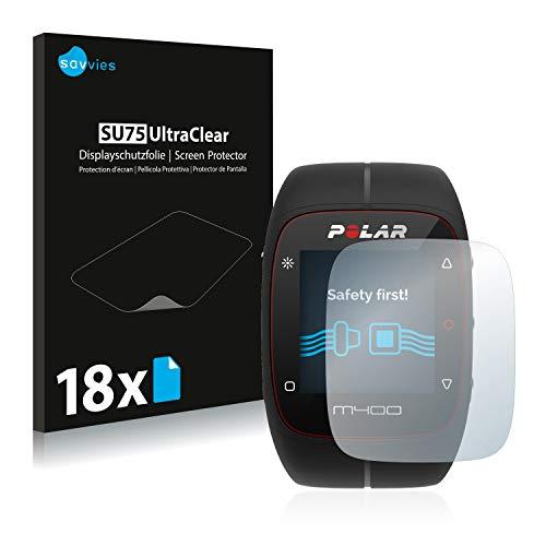 Savvies 18x Schutzfolie kompatibel mit Polar M400 / M430 Bildschirmschutz-Folie Ultra-transparent