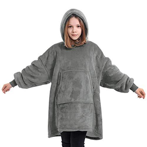 Couverture à capuche pour enfants, surdimensionnée, robe de chambre en polaire super douce, robe de chambre chaude et confortable,couverture surdimensionnée en microfibre et sherpa,taille unique–Gris