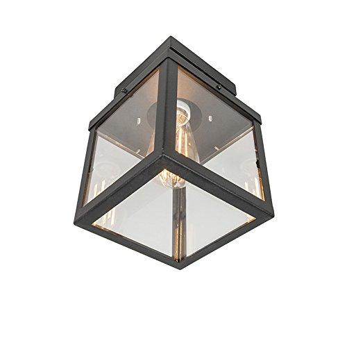 QAZQA Modern Industrielle Outdoor-Außen Deckenleuchte/Deckenlampe/Lampe/Leuchte schwarz 1-flammig - Rotterdam/Außenbeleuchtung Glas/Edelstahl Rechteckig LED geeignet E27 Max. 1 x 60 Watt