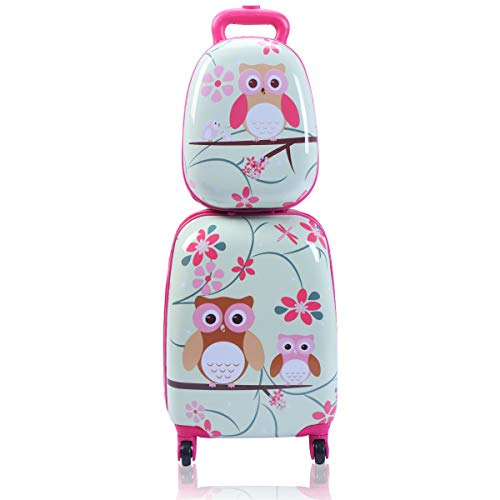 Goplus 2Pc 12' 16' Kids Carry On Luggage Set Upright Hard Side Hard Shell Suitcase Travel Trolley ABS (Owl)