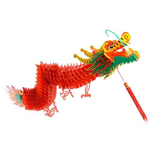 VALICLUD 1.5m Chinesisches Neujahr Drachen 3D Spring Festival Scrolls Drachen Girlande Hängende Rote Laterne Hängend für Chinesische Frühlingsfest Neujahr Hochzeit