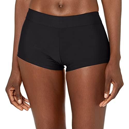 Catalina Women's Standard Boyshort Banded Bikini Swim Bottom Swimsuit, Black, Small