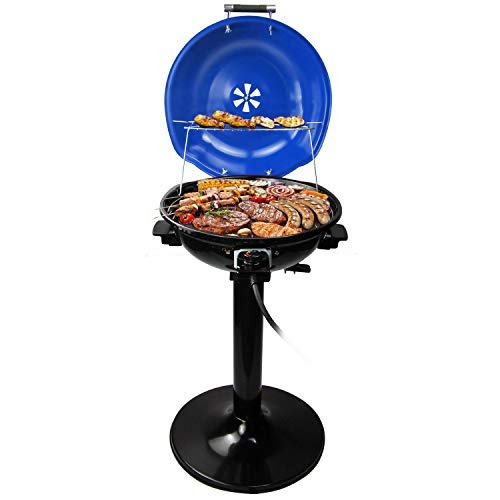 Electric BBQ Grill,Techwood Outdoor / Indoor Stand Grill with drip Tray, two Food Rack Grill, 15-Servings , Fast Heating , Double Handle , Easy to Install and Clean the Grill , Durability Grill, 1600W