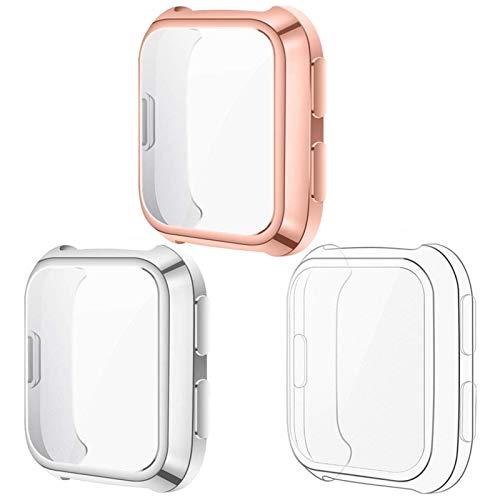 KIMILAR Hülle Kompatibel mit Fitbit Versa Schutzhülle (Nicht für Versa Lite/Versa 2),[3 Stück] Sanft Vollständige Abdeckung TPU Cover Case Schutzfolie (Rose Gold/Silber/Durchsichtig)