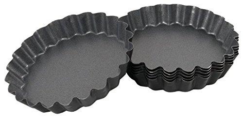 Antihaft-Tortelettform, Set mit 6 Förmchen, aus 0,6 mm starkem Stahl, PTFE antihaft-beschichtet/Ø dia. 12 cm   ERK