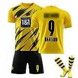 CiYuan Jersey 21-22 New Football T-Shirt Er Lin Harland Home Jersey No. 9 Adultos Niños Entrenamiento Uniforme Equipo Traje Uniforme con Calcetines Amarillo