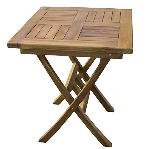 Trueshopping Solid Hardwood Square Garden Table - Weatherproof, Solid Teak Wooden Outdoor Furniture - Perfect for Garden, Patio, Bistro, Dining, Drinks and More