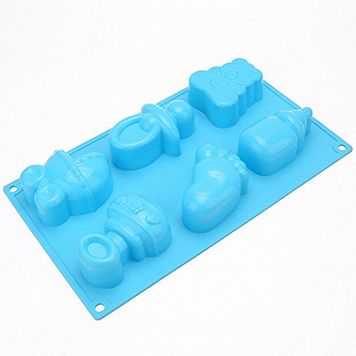 MoldFun Baby Shower Baby Feet Carriage Feeding Bottle Pacifier Silicone Mold for Baking, Pretzel, Cake Top Fondant Decorating, Jello, Mint, Chocolate, Ice Cube, Gelatin, Soap, Bath Bomb