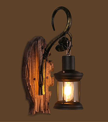 LINA-Muro industriale vintage Applique Lampada plafoniera per casa, Bar, ristoranti, Coffee Shop, Club decorazione Lampada da parete di ferro battuto legno solido dell'annata (400 * 300mm)