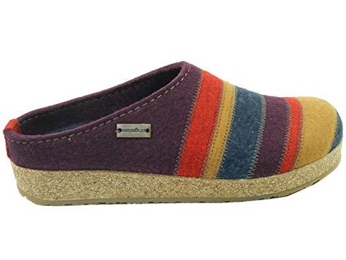 HAFLINGER Schuhe Damen Hausschuhe Pantoffeln Wolle Grizzly Stripes 711049, Größe:40 EU, Farbe:Violett