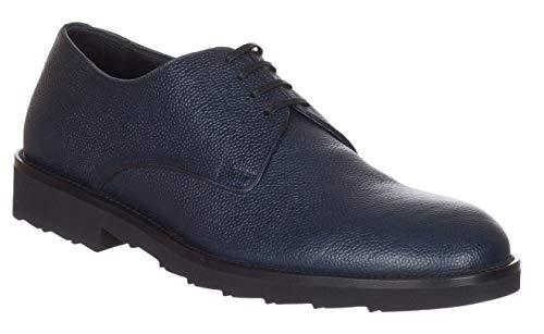 Dolce & Gabbana Zapatos de cuero azul guijarro con cordones Oxford Derby para hombre, Azul / Patchwork, 9 US