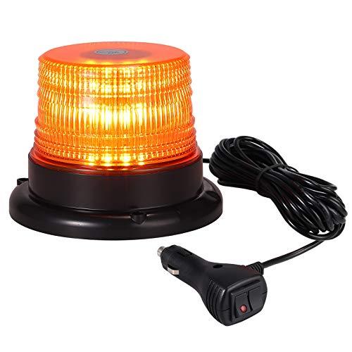 Justech 40W Luz Emergencia Coche Rotativo LED Luz de Advertencia Ámbar Luz de Estroboscópicas Help Flash 7 Modos con 5m Cable IP67 Impermeable para 12V/24V Vehículo Camión Caravana Remolque Tractor