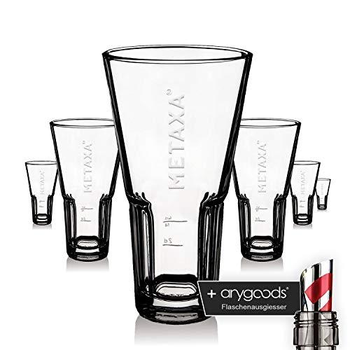 6 x Metaxa Glas Gläser 0,35l Weinbrand Relief Logo Gastro Bar NEU + anygoods Flaschenausgiesser