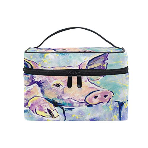 Bolsa de maquillaje, patrón de cerdo de animales portátil de viaje de impresión grande bolsa de cosméticos organizador compartimentos para niñas mujeres señora