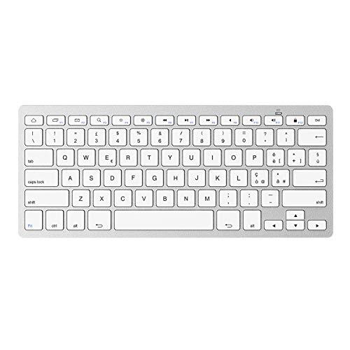 OMOTON Tastiera Bluetooth per Samsung o Huawei Tablet, Tastiera per Android, Layout Italiano, Tastiera Mini Portatile Wireless Senza Fili, Leggera e Sottile, Bianca