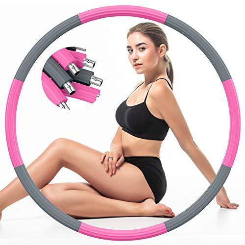 DUTISON Fitness Erwachsene Hoop Reifen, Gewichtet Rostfreier Stahl Übungsreifen Hoop zur Gewichtsabnahme mit Schaumstoff Gewichten Einstellbar von 1,2 bis 3,2 kg