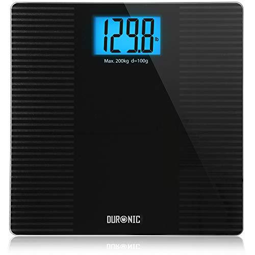 Duronic BS203 Báscula de baño digital - Capacidad máxima de 180kg - Pantalla LCD azul fácil de leer- Diseño antidescilante negro - Enciende al subirse - Peso corporal en kg, lb y st