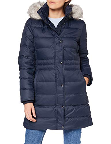 Tommy Hilfiger Damen Th ESS Tyra Down Coat with Fur Jacke, Desert Sky, M