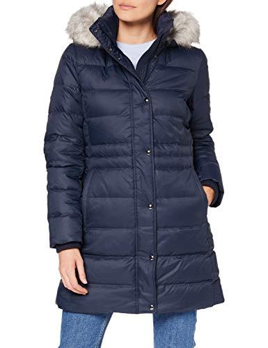 Tommy Hilfiger Damen Th Ess Tyra Down Coat With Fur Jacke, Desert Sky, L