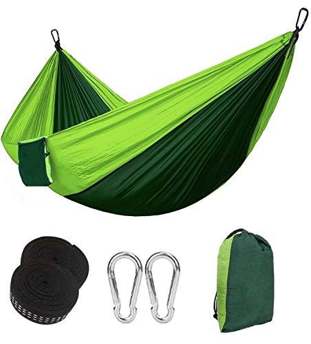 Eastshining Hamaca Colgante 270 * 140cm 300kg Capacidad de Carga Ultra Ligera Nylón de Paracaída Portátil y Transpirable,Ideal para Viaje Jardín, Camping (Color Verde)