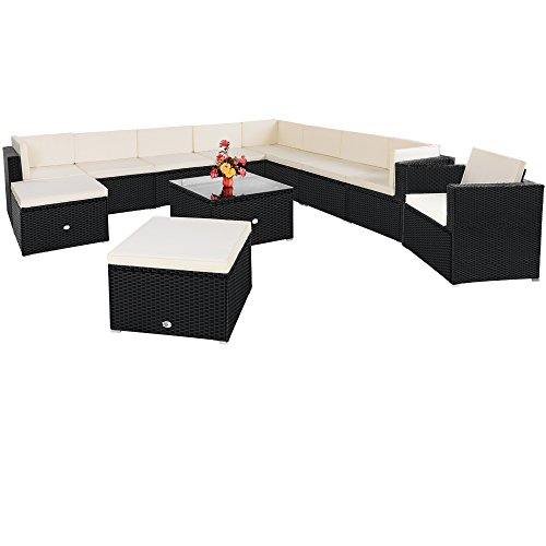 Poly Rattan Lounge 35 tlg Sitzgruppe Sitzgarnitur Gartenmöbel Gartenset Gartengarnitur - 2