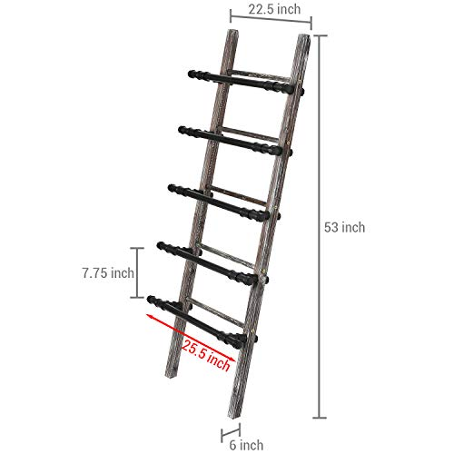 MyGift Industrial Black Metal Pipe and Rustic Torched Wood Blanket Ladder Towel Hanger Wall Leaning Rack