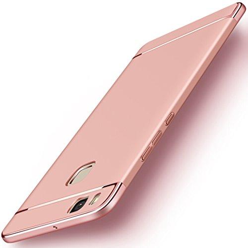 "Custodia Huawei P9 Lite, Yoowei Cover Huawei P9 Lite 3 in 1 Alta Qualità Ultra Sottile Piena Protezione PC Shell Duro Retro Custodia per Huawei P9 Lite 5.2"", Nero"