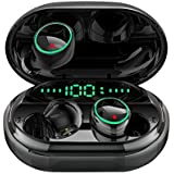 Bluetooth 5.0 Headphones Wireless Earbuds,IPX8 Waterproof Stereo Earbuds with Microphone, LED Battery Display 120H Playtime, Noise-Cancelling Headset with Charging Case for Sports