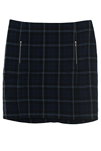 Sheego Midirock Rock Skirt Damen Stretch Karomuster Plusgröße, Farbe:blau;Damengrößen:48