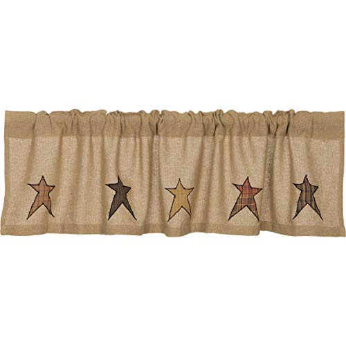 Natural Tan Primitive Kitchen Curtains Sutton Burlap Star Rod Pocket Cotton Appliqued Cotton Burlap Star Valance