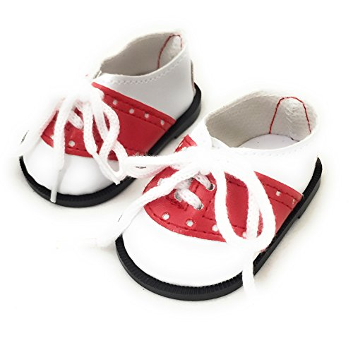 Red and White Oxford Saddle Shoes fit American Girl Doll and Other 18 Inch Dolls