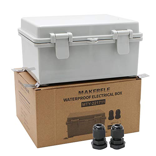 """MAKERELE Watertight Outdoor Plastic Junction Box Includes Internal Mounting Panel 8.6 6.7 4.3  (220170110mm) Electronics Projects Junction Waterproof Case with 2 NPT 1 2"""" Glands and Wall Bracket"""