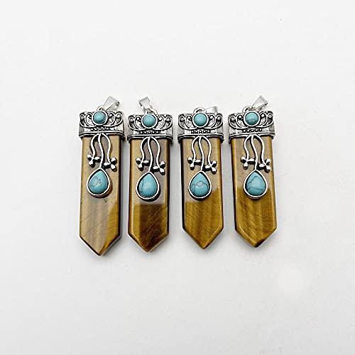 WANM Pendentifs en Pierre d'oeil de Tigre Naturel 6 pièces pendentifs en Forme d'épée pour Collier Bijoux Accessoires de Charme