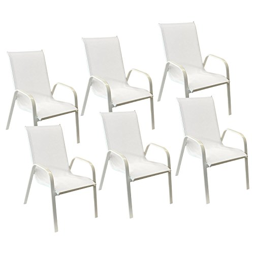 Happy Garden Lot de 6 chaises Marbella en textilène Blanc - Aluminium Blanc