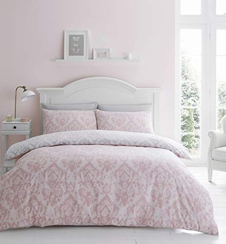 Catherine Lansfield Damask Easy Care Double Duvet Set Blush