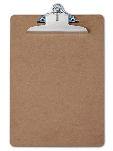 Läufer 05612 Hartfaser Klemmbrett, extra starke Klemme, Schreibplatte aus stabiler Holzfaser, beidseitig geschliffen, braun