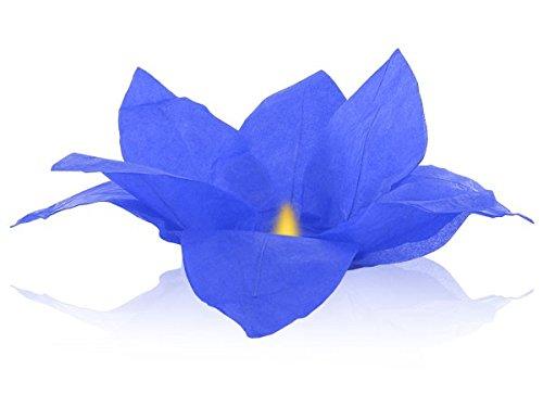 Lanterne flottante en papier thaï bleu bougie chauffe plat comprise Nymphea forme fleur de Lotus manifestation nocturne décoration romantique piscine bassin lac fleuve lumière nautique eau mariage anniversaire