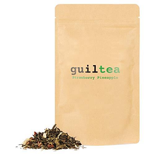 guiltea 100g Strawberry Pineapple I Mezcla de tés con hierbas y trozos de fruta, aromatizada con sabor a pina y fresa I Té de hojas sueltas