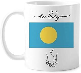 パラオの国旗オセアニア国シンボルマークパターン 恋人のマグカップ白陶器のカップ柄のギフト
