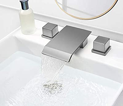 Pasutewel 3 Hole Double Square Handles Waterfall Bathroom Sink Faucet, Suitable for 8 Inches Widespread Basins Faucets, Valve in Solid Brass (Brushed Nickel)