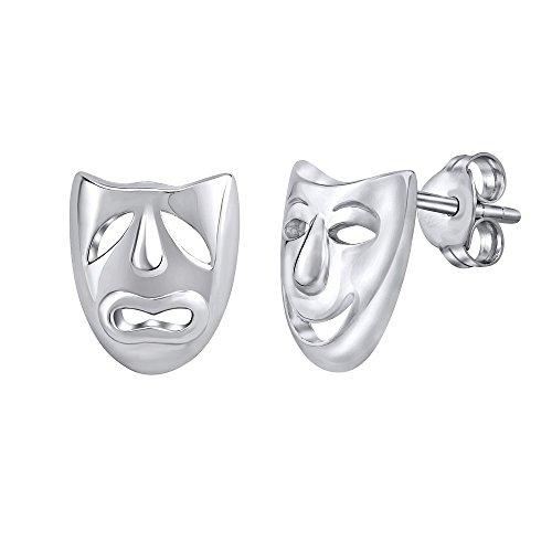 Pendientes máscaras de teatro de plata de ley 925 rodiado