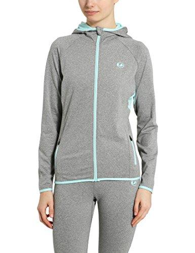 Ultrasport Damen Kapuzenjacke, Relax Fitness Sport, Grau-Melange/Aqua, XS